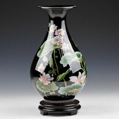 ORIENTAL CHINESE HAND-PAINTED BLACK LOTUS FLOWERS DROP SHAPE VASE c02