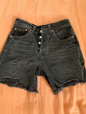 Levis 501 Mid Thigh Denim Shorts Black  Size 26
