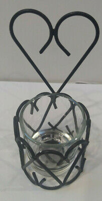 Candle Holder Wrought Iron Heart Shaped w/ Glass Votive Candle Holder