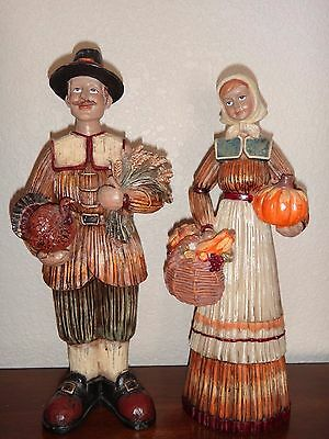 Thanksgiving Pilgrim Couple 2-PC SET Statue Figurine Height 12 inch NEW