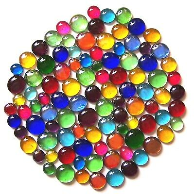 100 x Mixed Rainbow Glass Mosaic Pebbles Gem Stones - Assorted Colours & Sizes