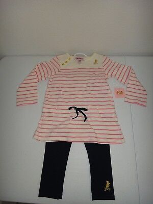 JUICY COUTURE 2-PC SET Baby Girl's Top Tunic & Leggings Ivory Pink Blue 18-24M