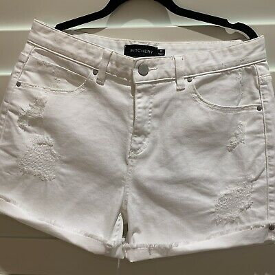 Witchery White Denim Destressed Shorts Sz 10 New