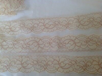 Antique Vintage Pale Latte & Brown Vein Wedding Dressmaking Trim Finishes Lace