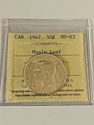 Canada 1947 50 Cent Coin - Maple Leaf -  MS-63 - ICCS