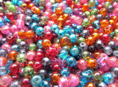 100pcs 6mm Round Glass Drawbench Beads Mix Colours for Jewellery Making