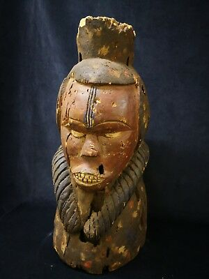Early 20th Century African Tribal Carved Head with Polychrome Decoration - 60cm