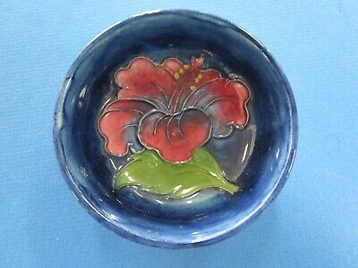 "Moorcroft ""Hibiscus"" Vintage Round Ceramic Dish with Original Paper l.  Perfect"