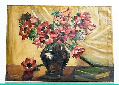 Antique Early 20th Century Still Life Vase of Flowers - Oil on Board Signed 1947