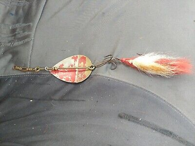 """Antique circa 1892 Fishing Lure 12"""" W.T.J. LOWE STAR BAIT 3/0 Spoon Feathered"""