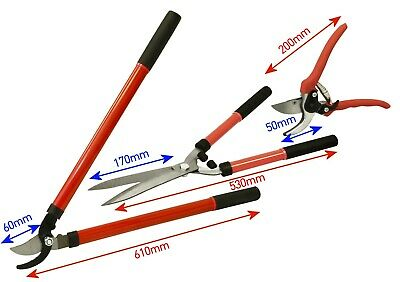 3pc Garden Cutting Tool Set Hedge tree and shurb pruning