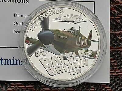 "2010 Guernsey Silver Proof £5 ""Battle of Britain SUPERMARINE spitfire with COA"