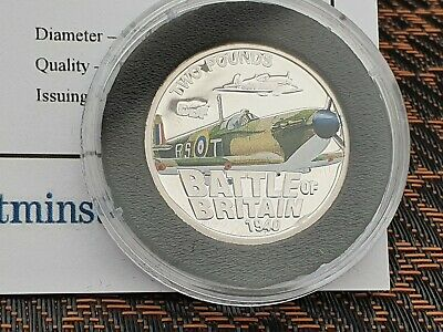 "2010 Jersey Silver Proof £2 ""Battle of Britain SUPERMARINE spitfire with COA"