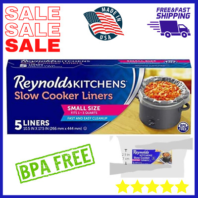 """Reynolds Kitchens Premium Small Slow Cooker Liners Cooking chili 10.5x17.5"""" 5pcs"""