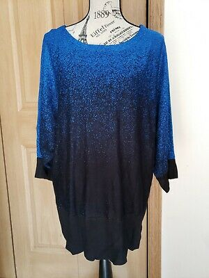 Women's NY Collection Size 2x Metallic Blue Black Knit Top