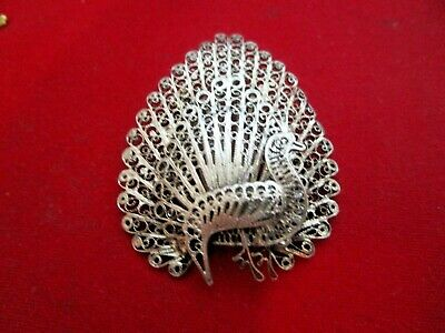 Peacock Antique Victorian Silvertone Exquisite 2 x 1 1/2 Well Made Rare Pin