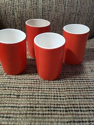 "Lot of 4 Holt Howard 1962 Juice Cups Orange Red - 3 1/4"" Tall"