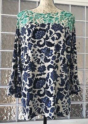 CHARTER CLUB Blue Green Textured Travel Knit Top Blouse Bell Sleeve Stretch  XXL