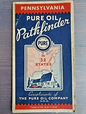 1935 Pure Oil Gasoline Pathfinder Pennsylvania Road Map