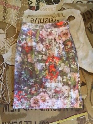 New Vivienne Westwood Red Label Ss 14 Stretch Flower Print Skirt Size 42
