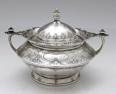 TIFFANY ACID ETCHED Sterling SUGAR BOWL c1899