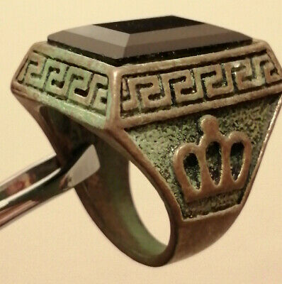 ANCIENT Medieval Metal Color Silver Ring with engraved crown