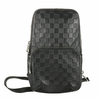 LOUIS VUITTON Onyx Damier Ebene Infini Leather Avenue Sling Bag