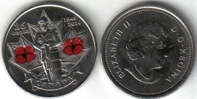 Canadian 2010 Quarter Red Poppy 65th Anniversary of end of WWII 25 cents Canada