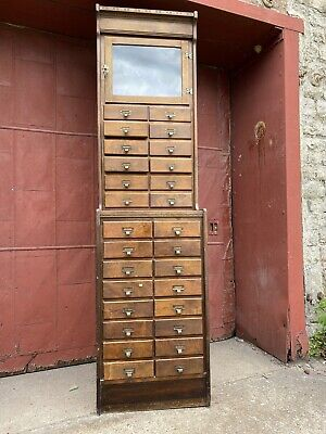 1900s Union Made Louisville KY 28 Drawer Watchmakers Cabinet Ledger Apothecary