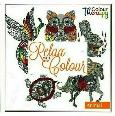 2 x Anti Stress Adult Colour Therapy Colouring Books Book Animals & Flowers New