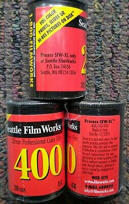 Lot of 3 SEALED 35mm Film Rolls Seattle Filmworks 20Exp. 2-400 & 1-200 Expired