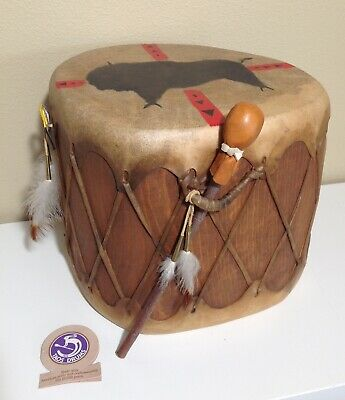 Vintage TAOS DRUM New Mexico Handmade Stretched Buffalo Rawhide Native American