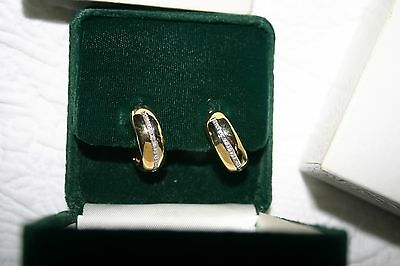 18K Yellow GOLD Wide HUGGIE HOOP Diamond Accent EARRINGS 12 Grams