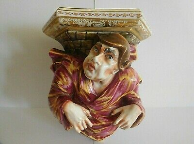 Antique 19Th Century Naples Porcelain Wall Shelf Bracket In The Form Of A Monk