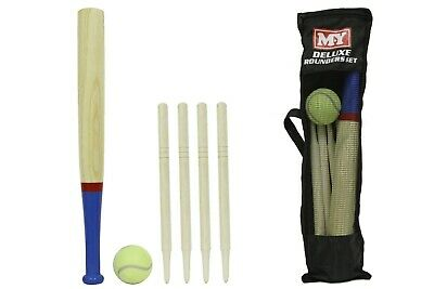 Deluxe Rounders Set Wooden 6Pc Toy Carry Bag Outdoor Fun Bat Ball Game Posts