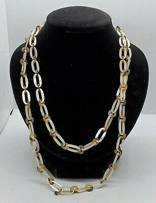 Art Deco RARE Dainty Carved Mother Of Pearl & Tortoise Shell Linked Necklace
