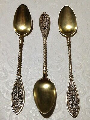 Theodor Olsens EFTF SET of 3 Antique Demitasse Spoons 830S Filigree Gold Wash