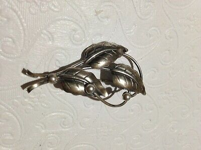 Denmark N E From Pin Brooch 925 Sterling Silver Leaves Berries ca. 1940's Danish