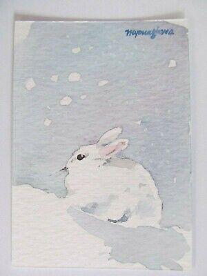 ACEO ORIGINAL Watercolor White Rabbit Winter Snow Bunny Nature by Anna Lee