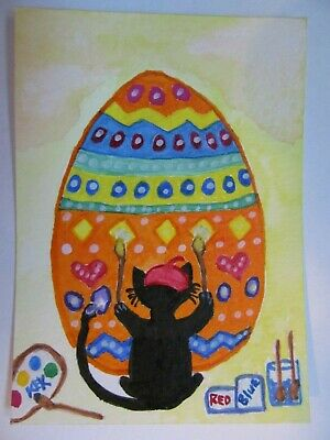 ACEO Original Watercolor Cat Kitty Paints Easter Egg with Paws Tail No 27 by KEK