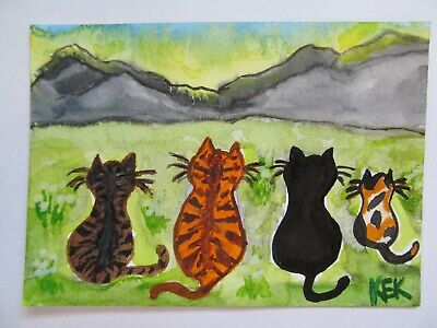 ACEO Original Watercolor Cats Kitty Field Mountains Purr-fect Sunrise No 29 KEK