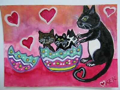 ACEO Original Watercolor Mama Cat Kittens Easter Surprise Egg Hatched No 55 KEK