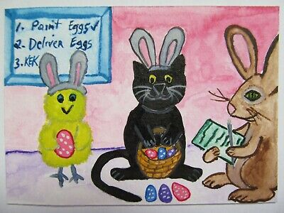 ACEO Original Watercolor Black Cat Chick Easter Bunny Painted Eggs No 47 by KEK
