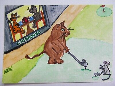 ACEO Original Watercolor Cat Mouse Golf Clubhouse Tea for Two 2 for Tee No61 KEK
