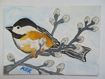 ACEO Original Watercolor Bird Chickadee in Tree Catkins Spring Time No 30 by KEK