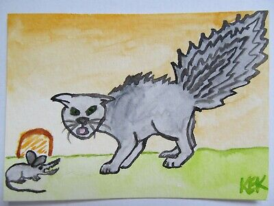 ACEO Original Watercolor Cat Scared Kitty Bottle Brush Tail Scary Mouse 67 KEK