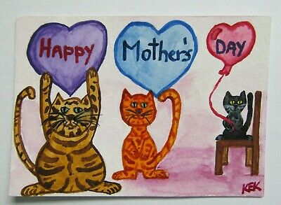 ACEO Original Watercolor Cats Heart Balloon Happy Mothers Day Greeting No 62 KEK