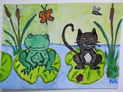 ACEO Original Watercolor Cat Frog Lily Pad Butterfly Bee Pond Cattails No 65 KEK