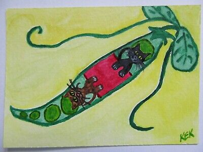 ACEO Original Watercolor Cat Kittens Two Purrs in a Pod Peas Vine No 64 by KEK