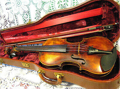 Superb Old 19th Century Violin Labeled Adolph Baur 1871 4/4 Bow in Case *VIDEO